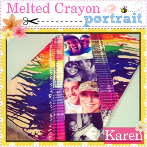 Use black and white pictures like the color has exploded from the pictures. And instead of having the crayons still on the picture do the crayon melt thingy let it sit there until it drys and then put the pics over where the crayons where then you don't have the crayons on the pic:)