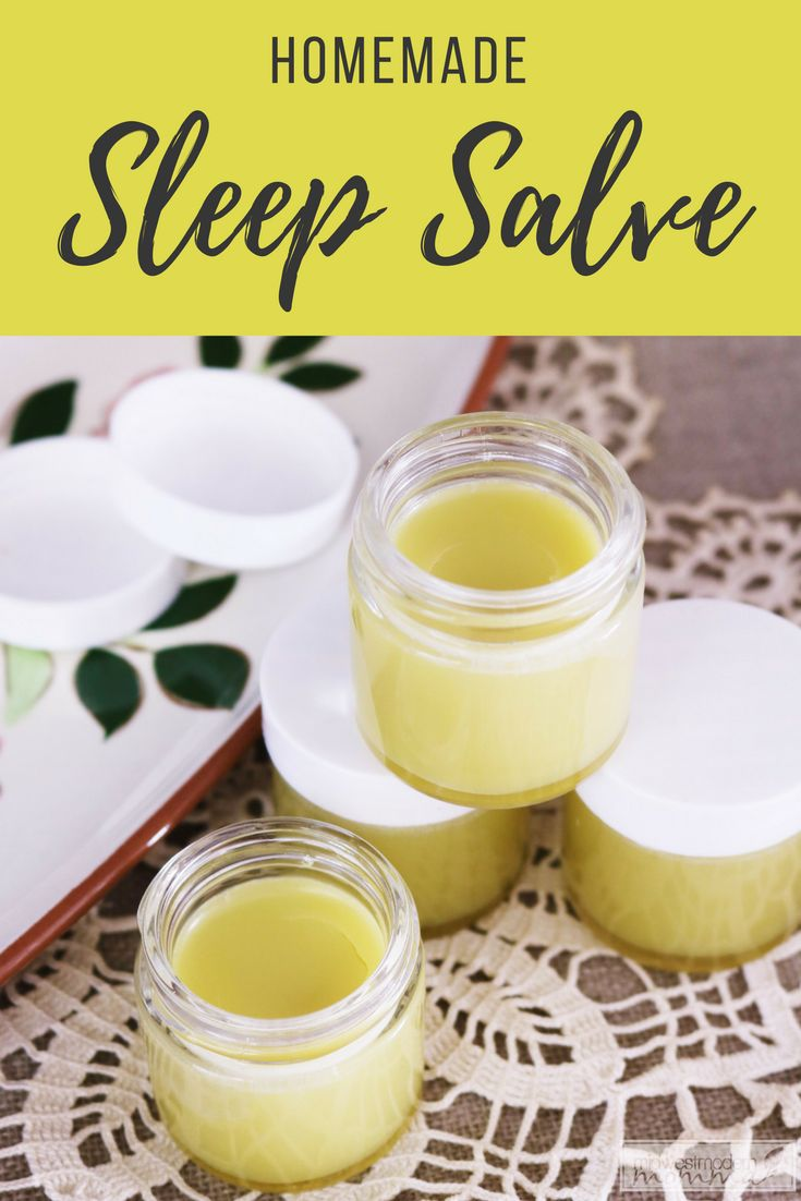 Homemade Sleep Salve   Check out this easy DIY Sleep Salve to help you fall asleep quickly instead of counting sheep for hours!  Made with essential oils and an easy homemade salve base.