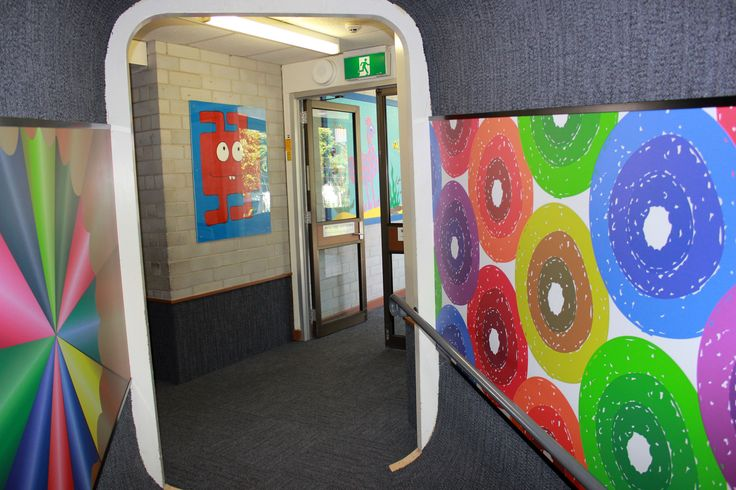 Pupils, parents and staff at Hawker Primary School in Canberra are over the moon with their planetary laminated wall murals and other spectacular custom laminate corridor designs- thanks to Wilsonart Australia Fig.2
