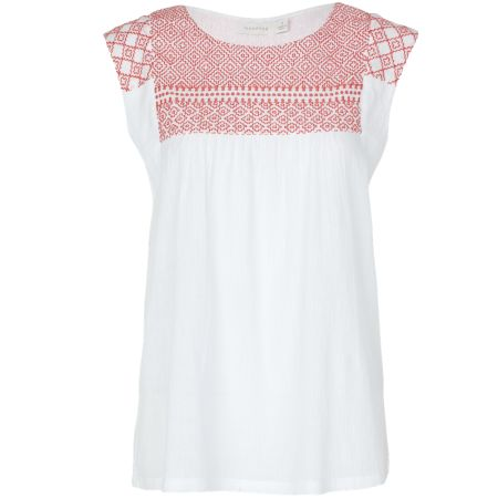 Sashiko embroidered smock top in coral - hardtofind.