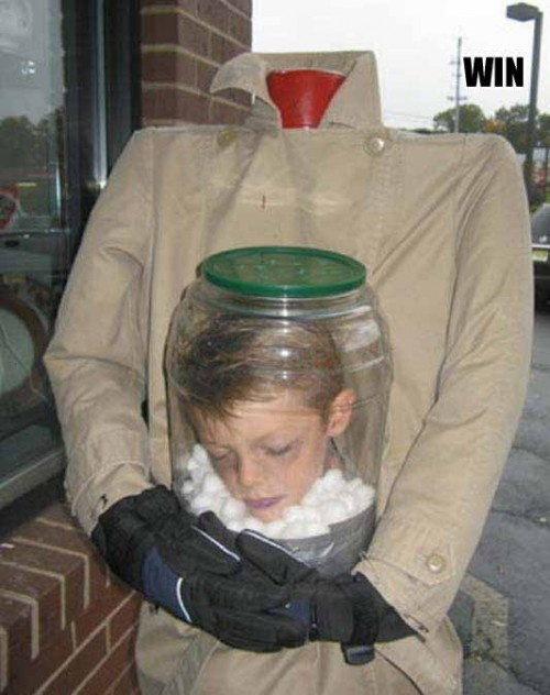 Creepy! halloween-costume-win-kid-head-bottle. I think my grandson Christopher would love this one..