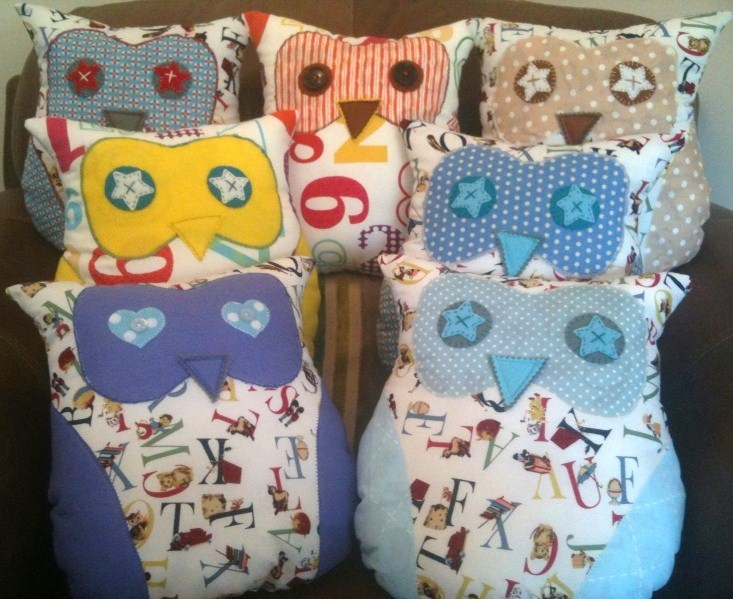 These quirky appliquéd owl shaped cushions are made to order in your chosen fabric design, as featured in 'Sewing World' Magazine