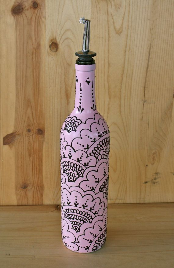 Ready to ship Olive Oil Bottle Pink bottle with by LucentJane