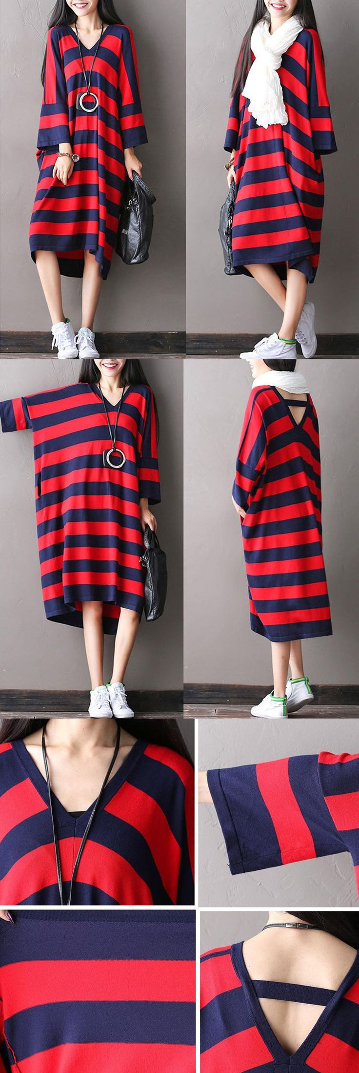 Blue and red stripe loose dress for a unique look.hand wash