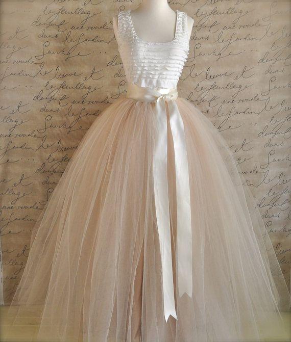 Full length sewn unlined tulle skirt. Weddings and formal wear for girls or women.. $270.00, via Etsy.