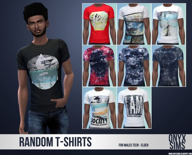 Random T-Shirt Collection for the Guys at Onyx Sims via Sims 4 Updates