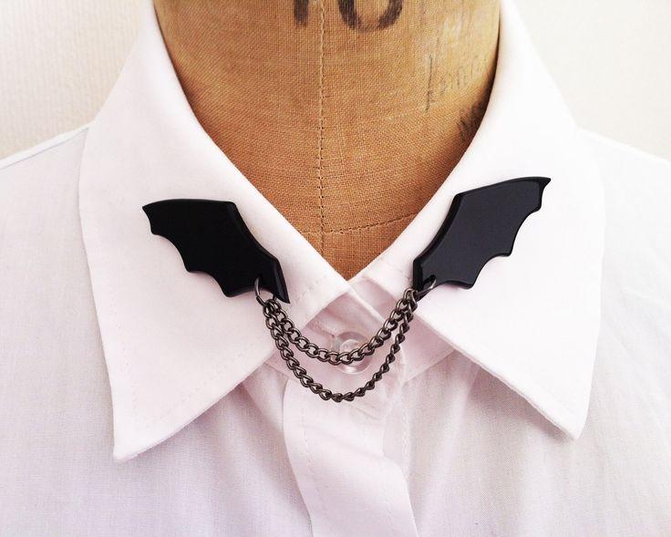 Halloween bat collar pins. £9.00, via Etsy.