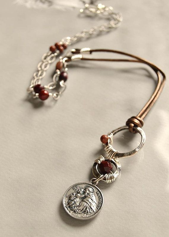Religious Catholic jewelry Saint Anthony by FifteenMagpieLane