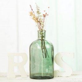 Botella de cristal verde estilo boticario - Grande