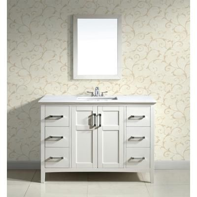Simpli Home Winston 48 Inch White Vanity With White Marble Top And Under Mount Rectangular
