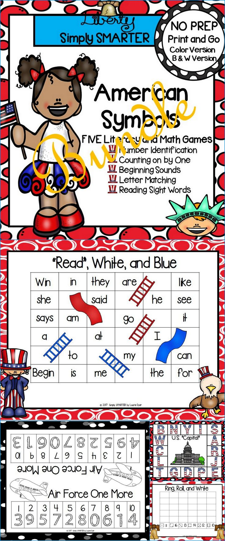 Are you looking for NO PREP literacy and math games for preschool, kindergarten, or first grade? Then download this bundle and go! Enjoy this phonics and math resource which is comprised of FIVE different AMERICAN SYMBOLS themed games complete with a color version and black and white version of each game. The games can be used for small group work, partner collaboration, or homework!