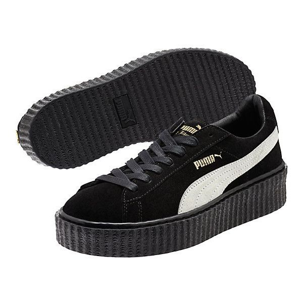 PUMA BY RIHANNA CREEPER ($120) ❤ liked on Polyvore featuring shoes, long shoes, platform shoes, suede shoes, suede lace up shoes and creeper shoes
