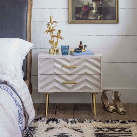 Ariella Chevron Large Bedside Table Side Tables Furniture