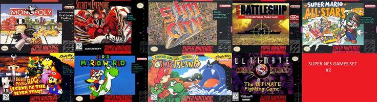 Monopoly, Secret of Mana, Sim City, Super Battleship, Super Mario All-Star, Super Mario RPG, Super Mario World, Super Mario World 2, Ultimate Mortal Kombat 3