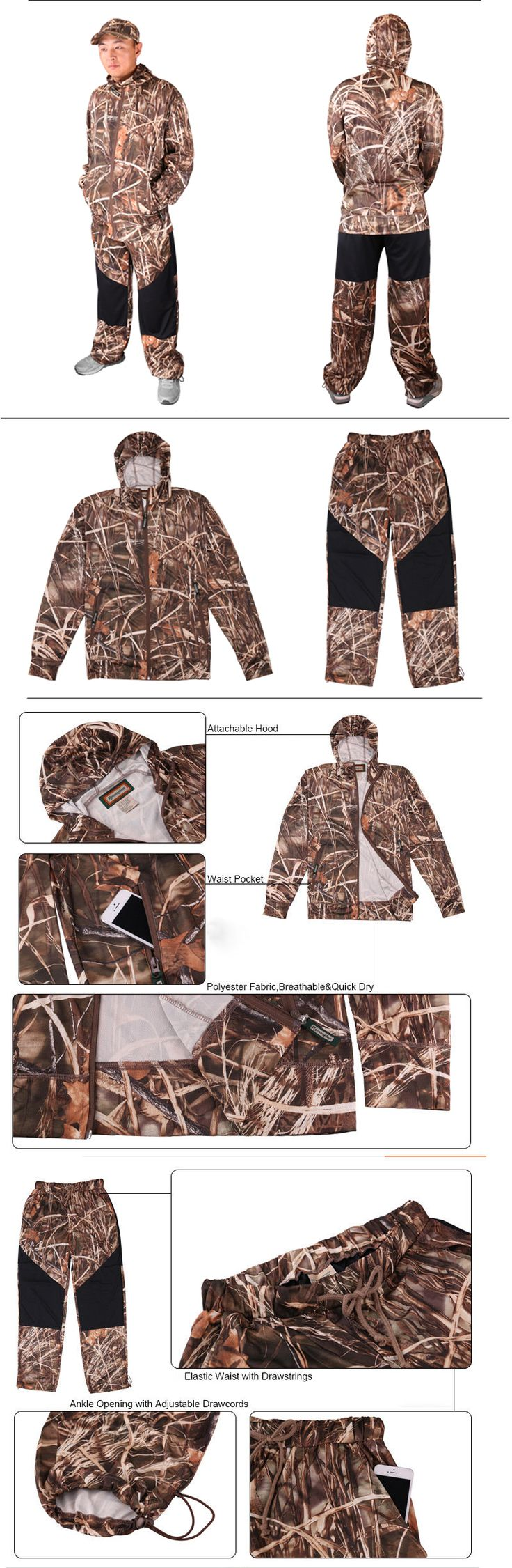 Jacket and Pants Sets 179981: Mens Camo Fishing Clothing Jacketandpant Sets Uv Protection Breathable Plus Size -> BUY IT NOW ONLY: $82 on eBay!