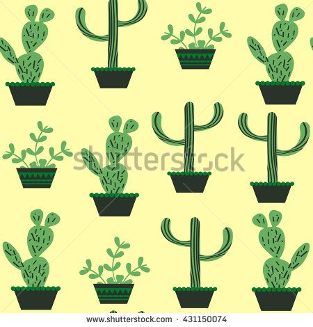 Nature  funny floral  cactus seamless pattern and seamless pattern in swatch menu, vector illustration. Cute texture and image. Background made seamlessly - stock vector