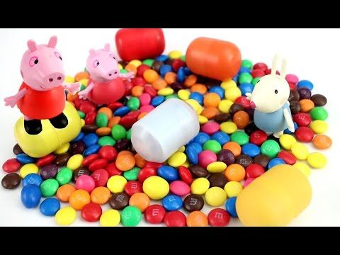 Peppa pig Surprise eggs toy Disney hello kitty M&M's Chocolate monster toys kids Toyo Surprise video - YouTube