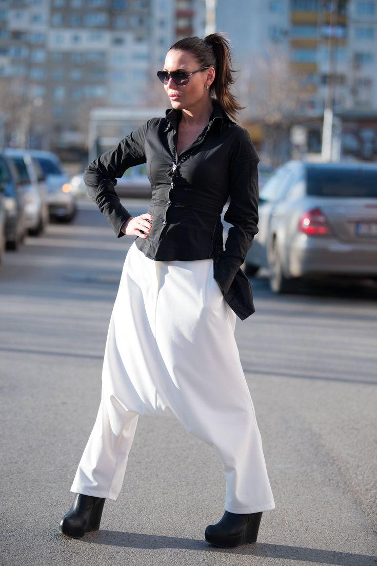 White Harem Pants, White Cotton Harem Pants for Women, Plus Size Pants, Drop Crotch Pants, Casual Pants, Pants Women, White Pants - PA0739PM by EUGfashion on Etsy