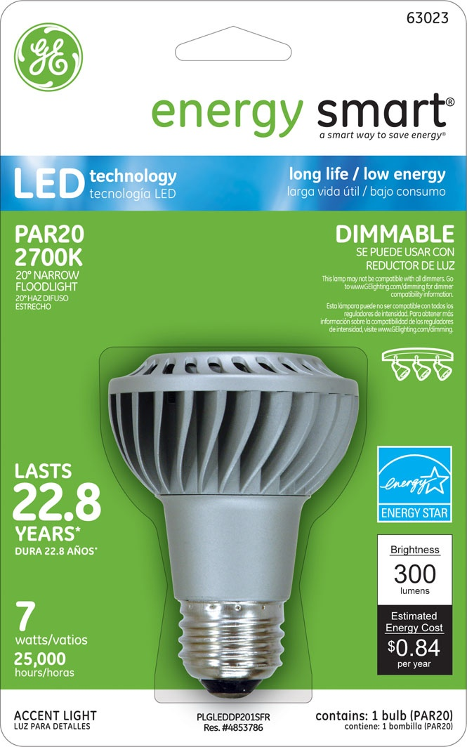 GE Energy Smart(R) Dimmable 30W Replacement (7W) PAR20 LED Light Bulb Warm White (Energy Star (R) Qualified) - LED7DP20S/NFL/TP $37.95