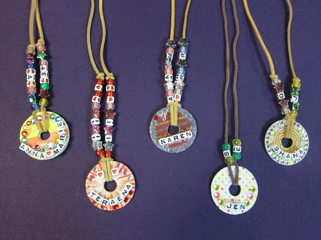 Washer necklaces -- these ones are MOPS name necklaces