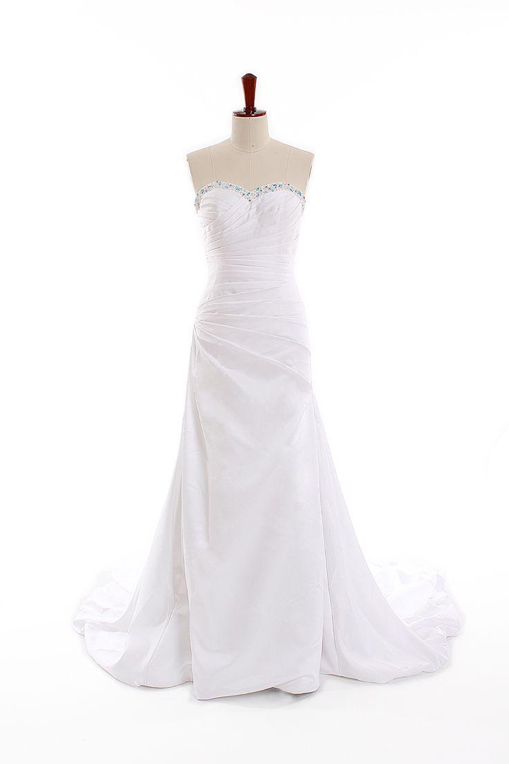 Trumpet / mermaid sweetheart chapel train charming satin wedding dress
