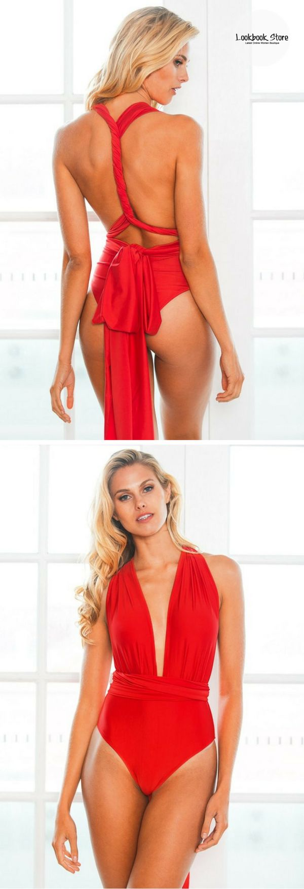 Items on Sale // With its multiway straps, you can style this red multiway swimsuit in whatever you like. Shop this beauty here.