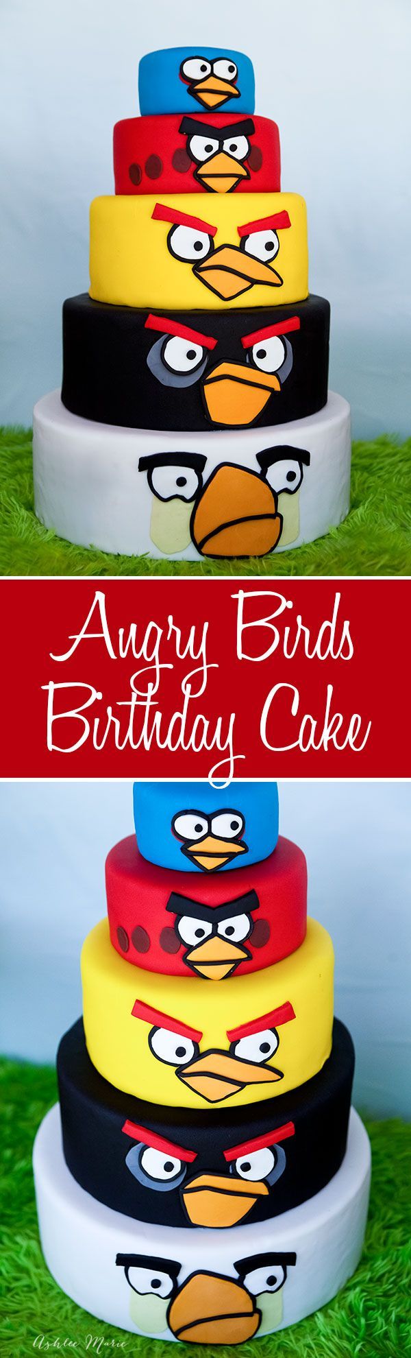 a 5 tier angry bird birthday cake, each layer is a different bird and it was a huge hit at the party with all the kids
