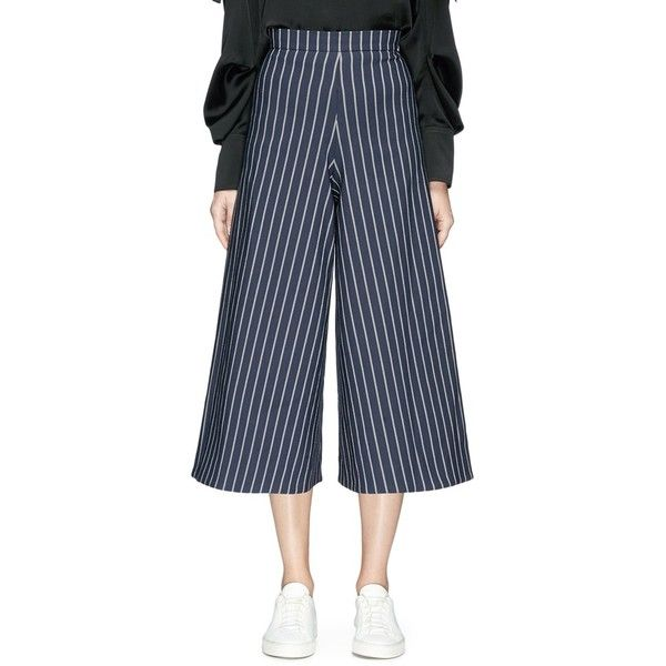 Nicholas Stripe twill culottes (223.340 CRC) ❤ liked on Polyvore featuring pants, capris, wide leg pants, striped wide leg pants, wide leg trousers, wide leg cropped pants and striped wide leg trousers