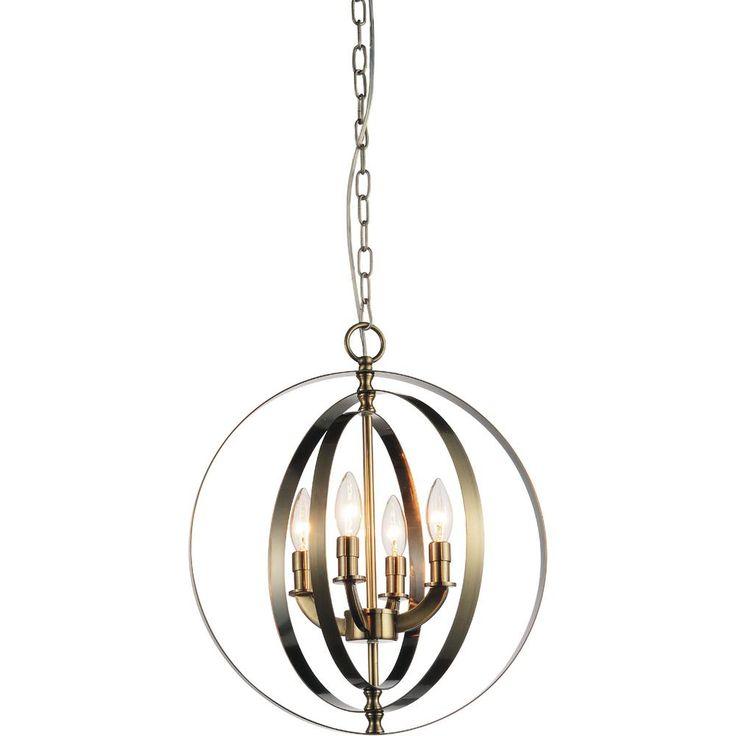 Delroy 4-Light Antique Brass Chandelier