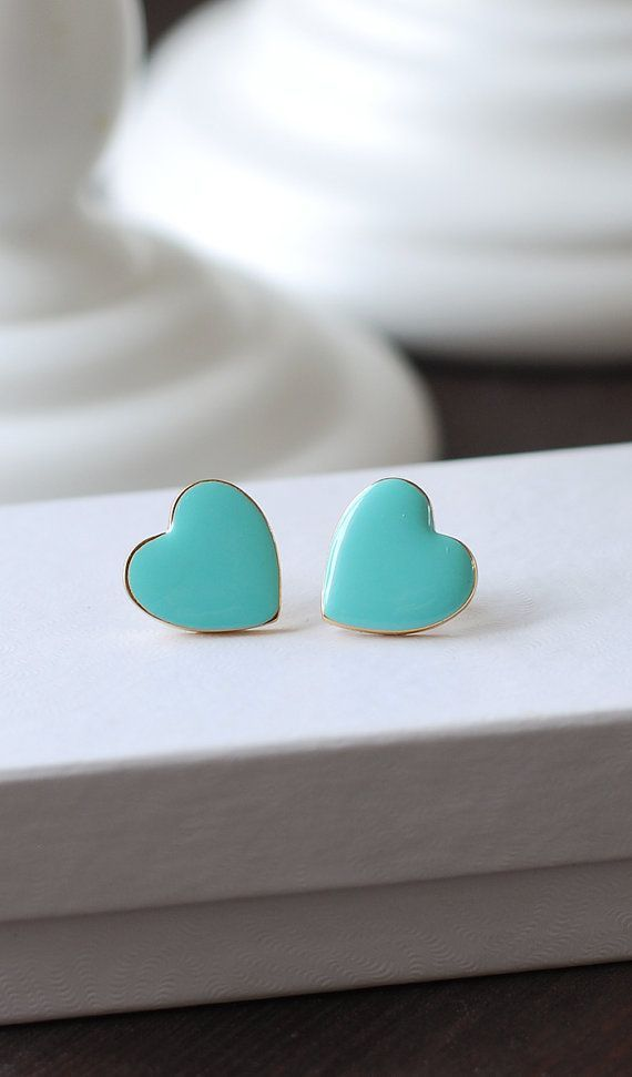 https://www.etsy.com/shop/LeChaim  Heart Stud Earrings, Robin Egg Blue Tiffany Blue Heart Post Earrings. 18K Gold plated Enamel Heart Earrings Valentine's Day Gift by LeChaim