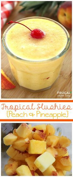 Tropical Peach and Pineapple Slushies - Only 3 Ingredients in this refreshing beverage. Great summer beverage perect beach vacation recipe or pool beverage. Details on Frugal Coupon Living.
