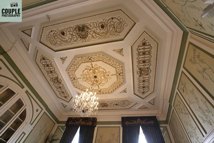The intricate ceiling in the library at Durrow. Weddings at Durrow Castle photographed by Couple Photography.