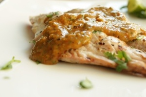 Grilled Hamour with Spicy Tomato and Cumin Sauce