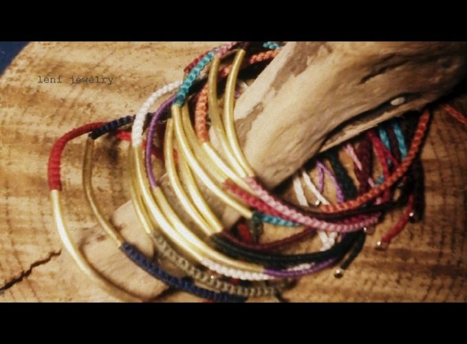 Handmade colorful bracelet with bronze tube.