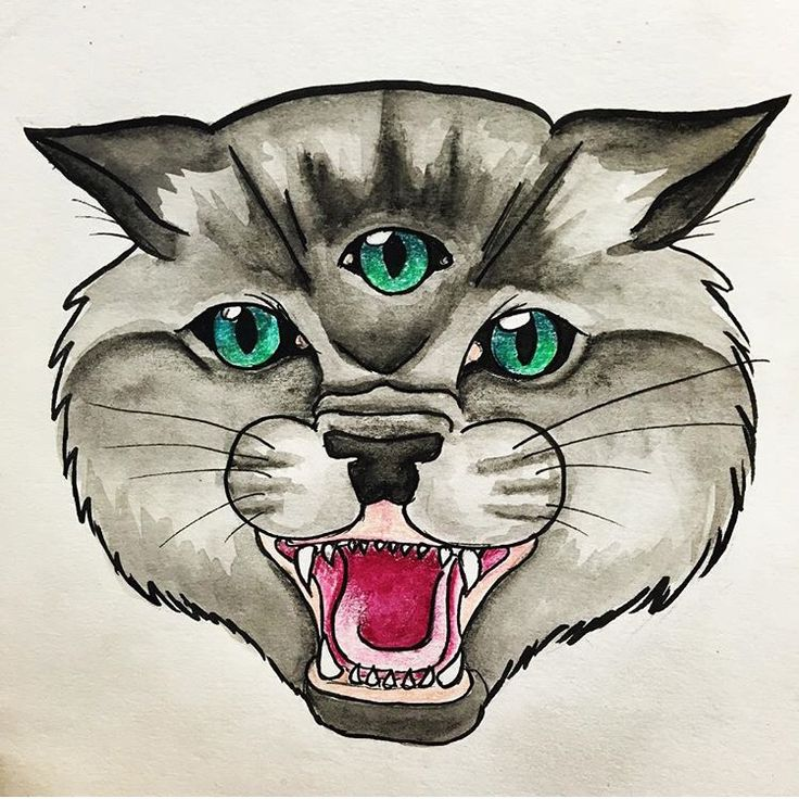 Three eyed cat in watercolour by Maddie Cade mcadeart