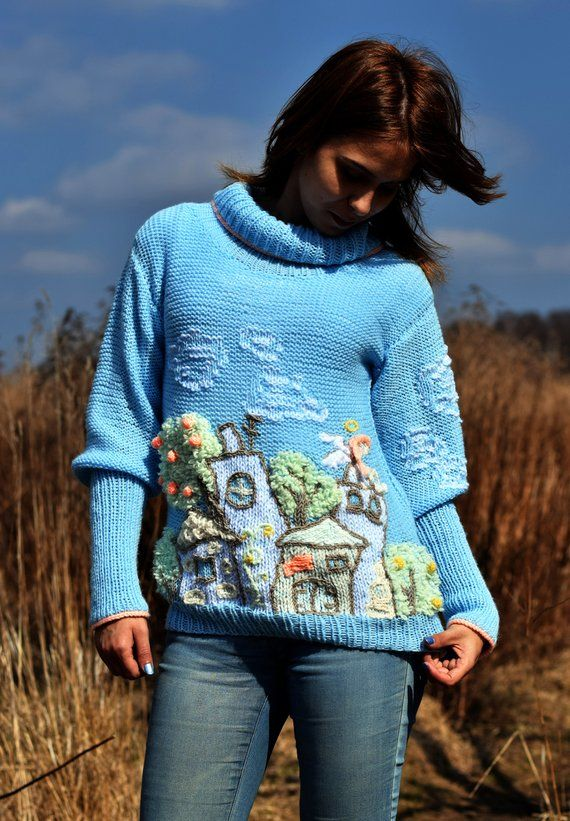Light House Blue Jumper Angel Home Cloud Tree Sweater Handmade ggr1nqS