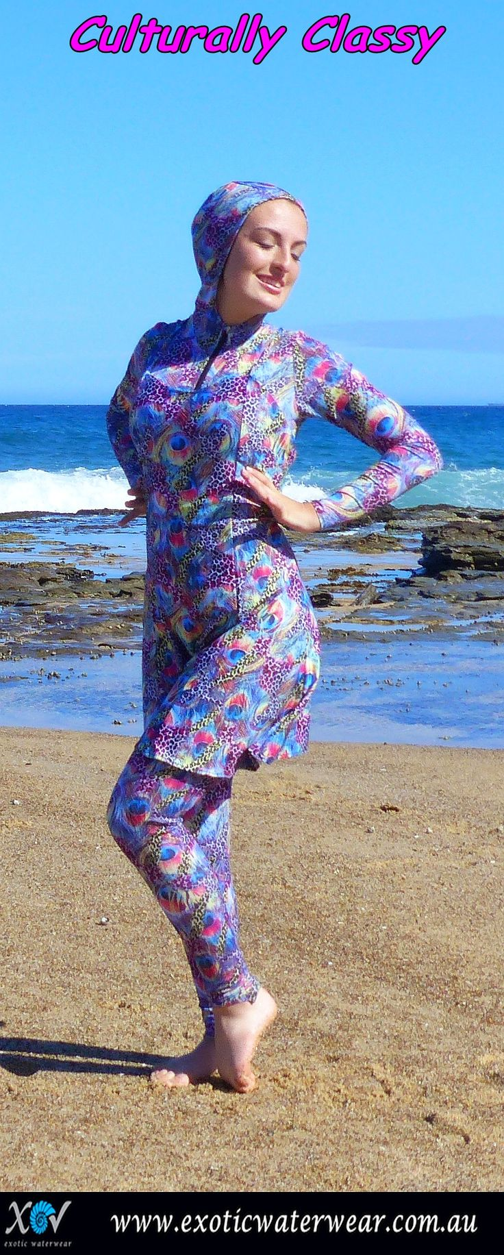 Beautiful bold burkinis with that extra pizzazz! Be different, be fashionable, express yourself! Only online www.exoticwaterwear.com.au #burkini