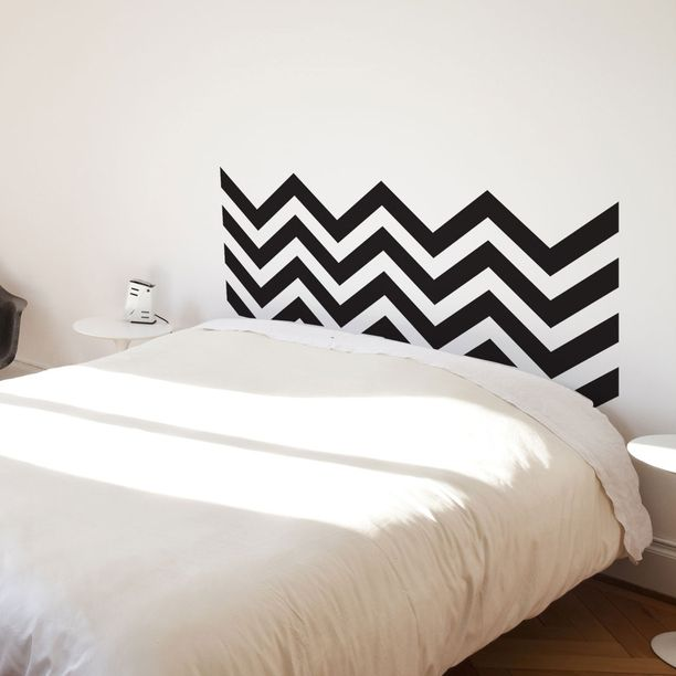 Black Chevron headboard decal