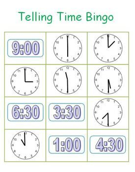This bingo game reviews telling time to the hour and half hour. The game includes seven different bingo cards that are colorful and large in size so that it is easy for both the students and teacher to see. I also made sure to include digital and analog clocks because students will be exposed to both throughout their everyday life. Lastly, I included time calling cards that are quite large so the teacher can provide learning opportunities for both the visual and auditory learners. $3.25