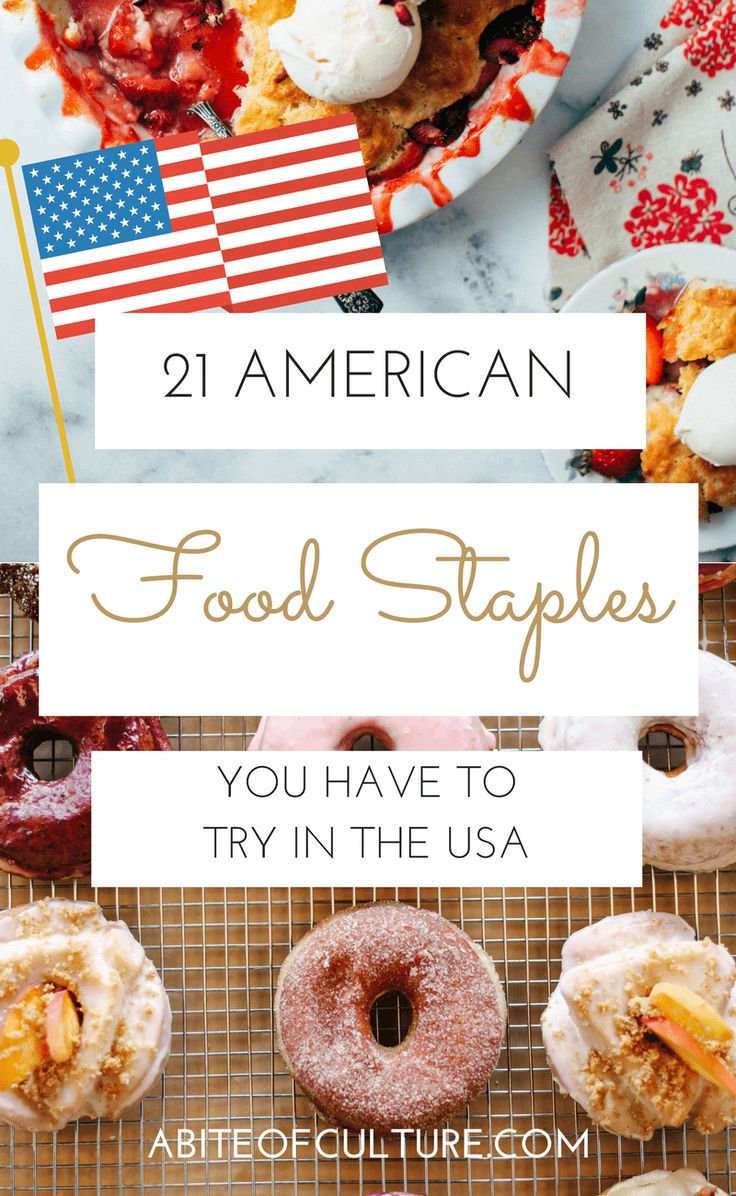 21 American Food Staples You Have to Try in the USA; a foodie bucket list for all the American foods you should try while traveling in America. From hamburgers to donuts we cover all the foods that define American cuisine. Happy traveling and happy eating!