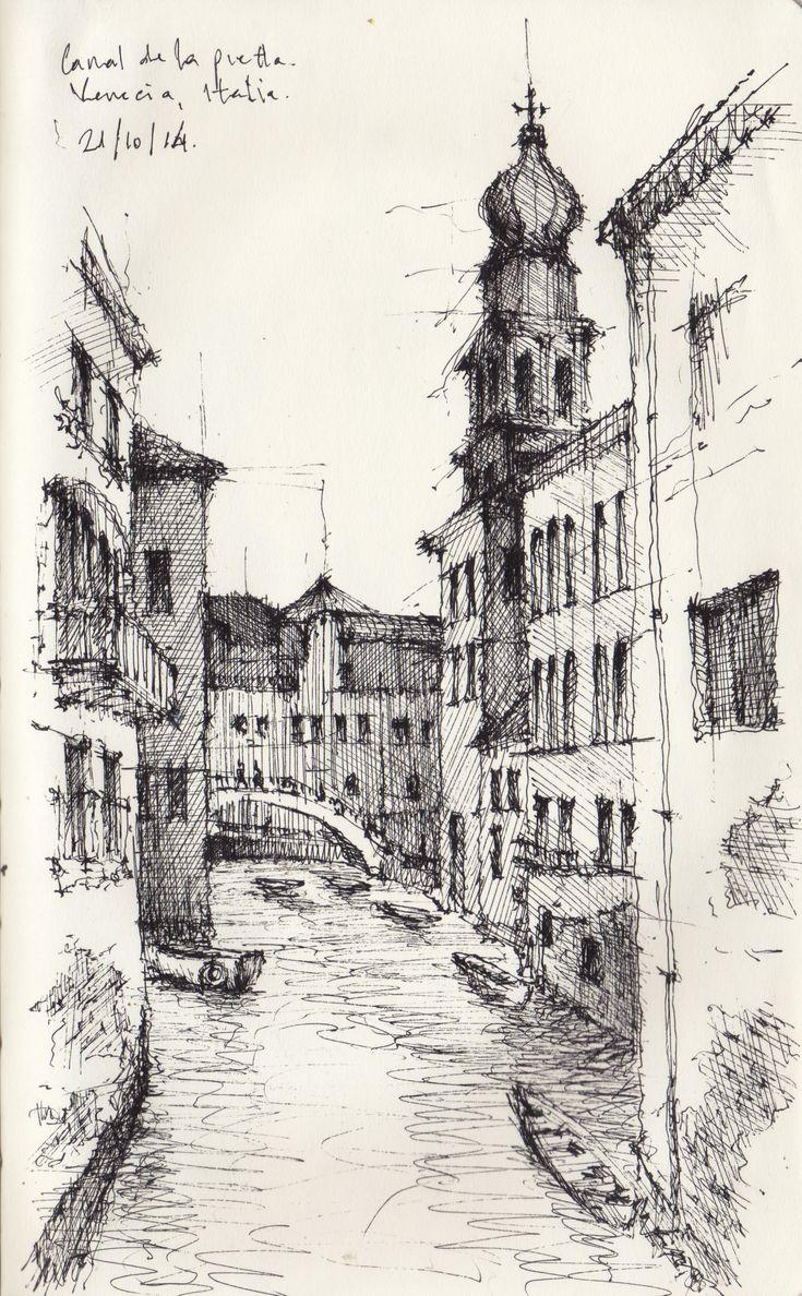 Croquis - Canal de Venecia - por Facundo Alvarez