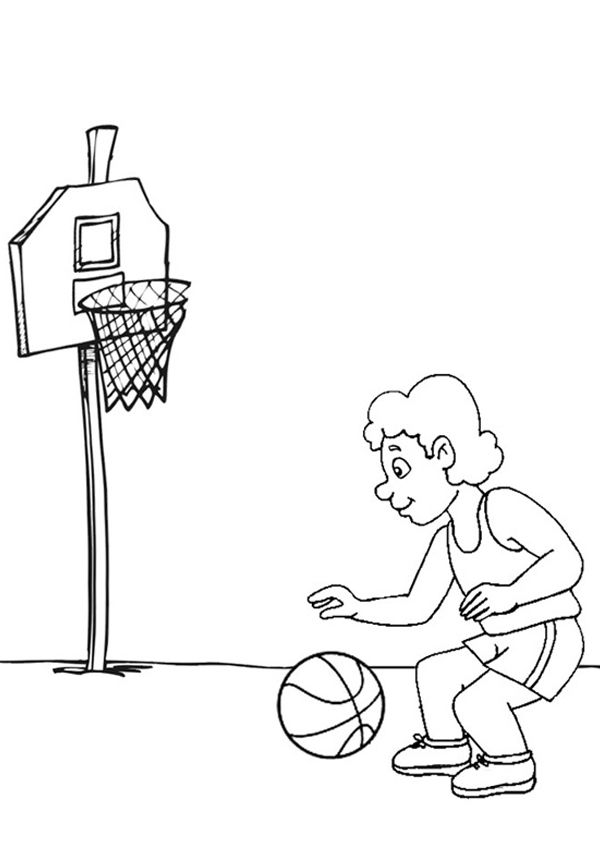 Free Online Basketball Colouring Page