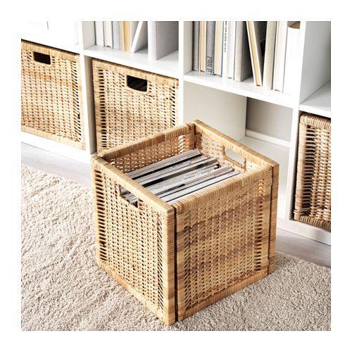 BRANÄS Basket - rattan - IKEA / Dimensioned to fit KALLAX shelf unit. Protective pads underneath.
