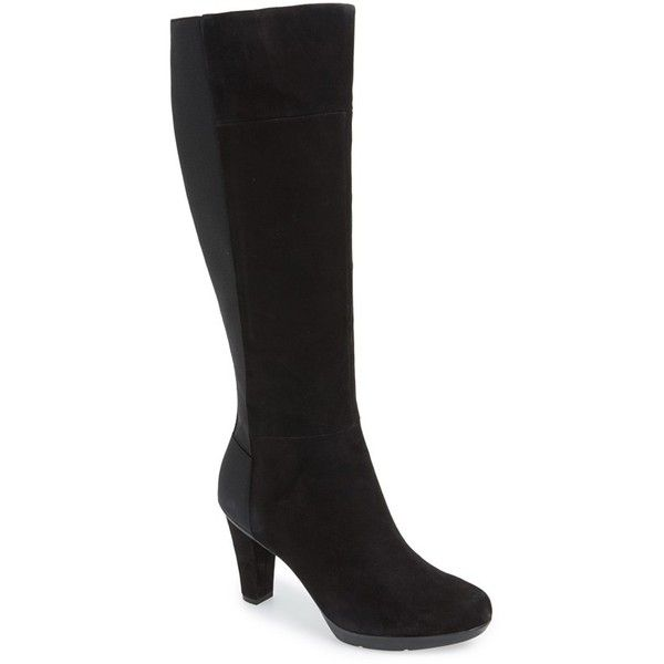 """Geox 'Inspiration 7' Suede Tall Boot, 3 1/4"""" heel (2 430 SEK) ❤ liked on Polyvore featuring shoes, boots, black suede, knee-high boots, suede knee high heel boots, black stretch boots, black suede knee high boots, stretch knee high boots and waterproof boots"""