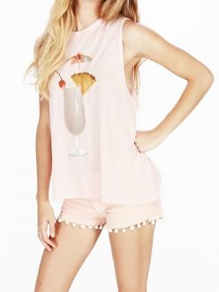 Light Pink Summer Drinks Printed Sleeveless T-shirts
