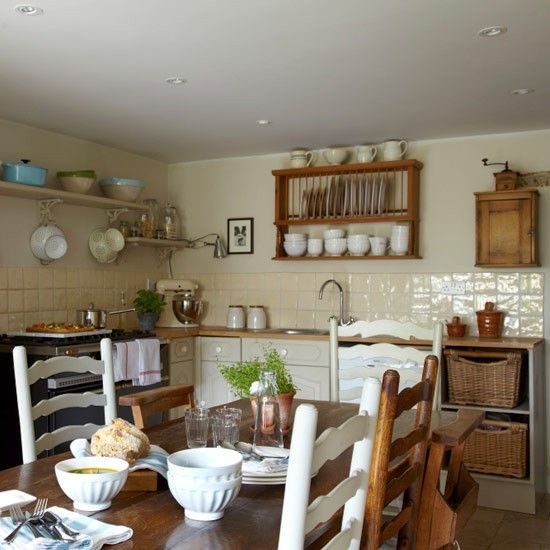 We Love This Cosy Country Kitchen! Use Open Shelving Rather Than Cupboards  To Increase The Feeling Of Space And Show Off All That Lovely Kitchenware!