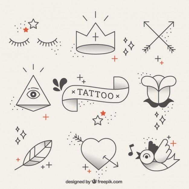Оригинальные элементы татуировки в линейном стиле Бесплатные векторы