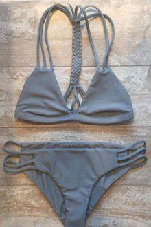 Solid Color Spaghetti Strap Lace Up Bikini Set WINE RED: Bikinis   ZAFUL