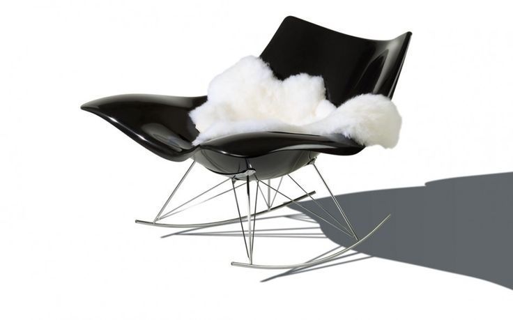 Furniture Comfortable and Charming Modern Rocking Chair: Attractive Black Stringray Modern Rocking Chair Designed By Thomas Pedersen