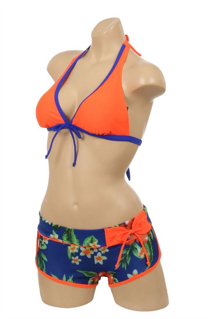 Two Piece Orange and Navy Boyshort Swimset